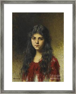 Girl In A Red Shawl Framed Print by Celestial Images