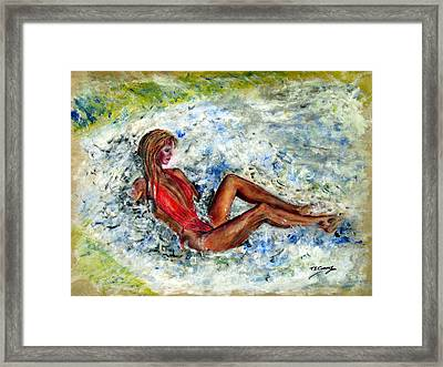 Girl In A Red Swimsuit Framed Print