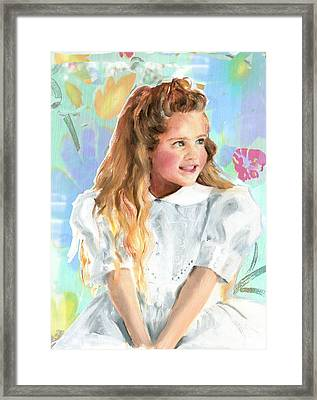 Girl In A White Lace Dress  Framed Print