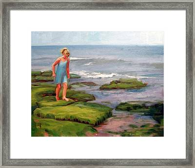 Girl In Blue Framed Print