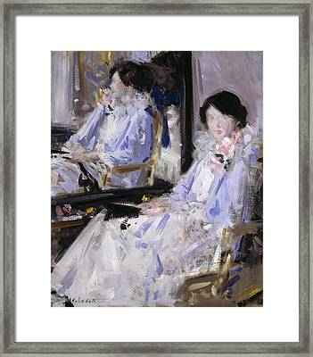 Girl In Blue Framed Print by Francis Campbell Boileau Cadell