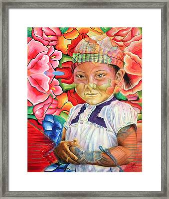 Girl In Flowers Framed Print by Karina Llergo