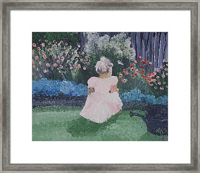 Framed Print featuring the painting Girl In Garden by Angela Stout