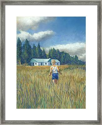 Girl In Hayfield Framed Print