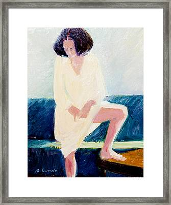 Girl In Nightshirt Framed Print