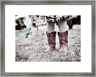 Girl In Red Boots Framed Print by Angela Bonilla