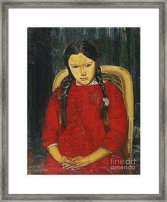 Girl In Red Framed Print by Celestial Images