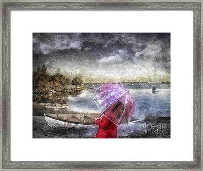 Girl In Red Coat Framed Print by Mo T