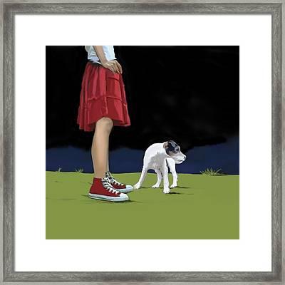 Girl In Red Skirt Framed Print by Marjorie Weiss