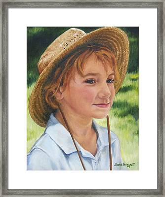 Girl In Straw Hat Framed Print