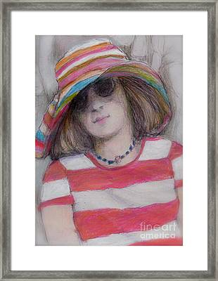 Girl In Sun Hat Framed Print by Cecily Mitchell