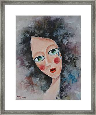 Girl In Tear Framed Print by Mikyong Rodgers