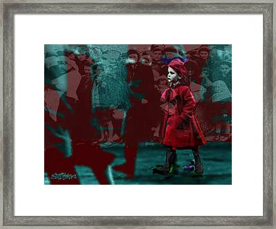Girl In The Blood-stained Coat Framed Print