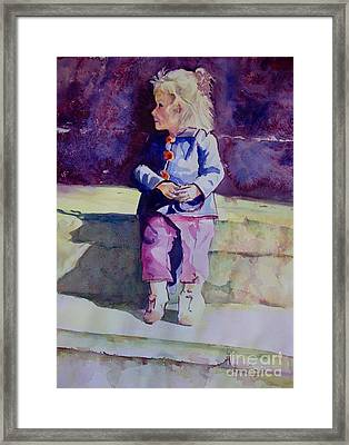 Girl In The Blue Jacket Framed Print by Janet Felts