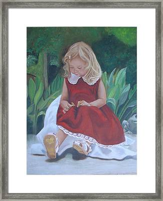Framed Print featuring the painting Girl In The Garden by Sharon Schultz