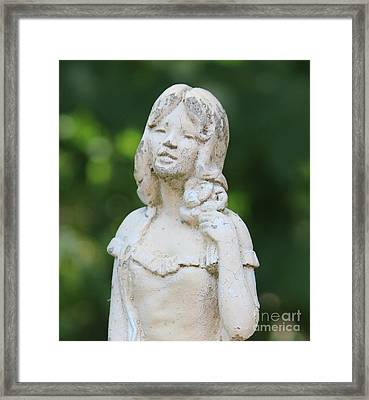Girl In The Garden Statue Framed Print