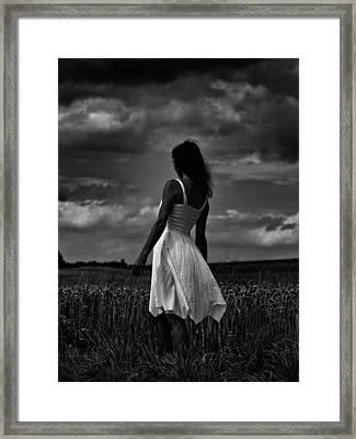 Girl In The Grain Field Framed Print