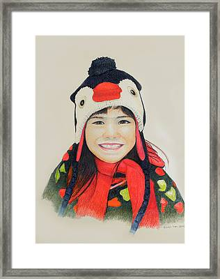 Framed Print featuring the drawing Girl In The Penguin Cap by Tim Ernst