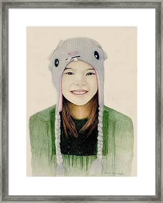 Framed Print featuring the drawing Girl In The Rabbit Cap by Tim Ernst