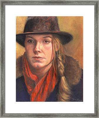 Girl In The Red Scarf Framed Print by Terri  Meyer