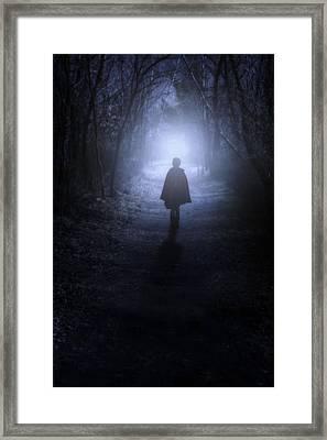 Girl In The Woods Framed Print