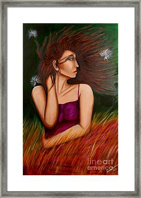 Girl In Wind Framed Print by Saranya Haridasan