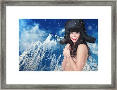 Girl In Winter Fur Cap Framed Print by Aleksey Tugolukov