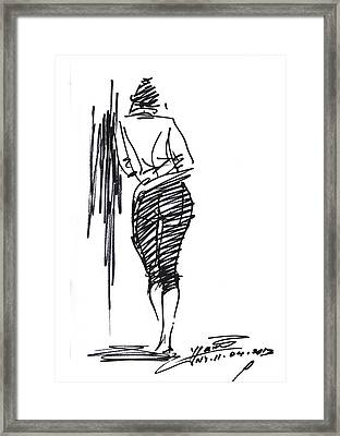 Girl Leaning Against Wall Framed Print by Ylli Haruni