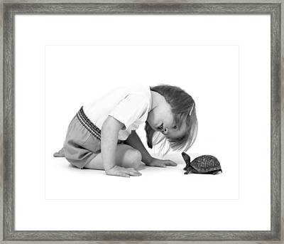 Girl Looking At Box Turtle, C.1960s Framed Print by L. Fritz/ClassicStock