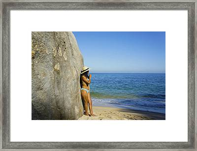 Girl Looking At The Ocean Framed Print by Aged Pixel