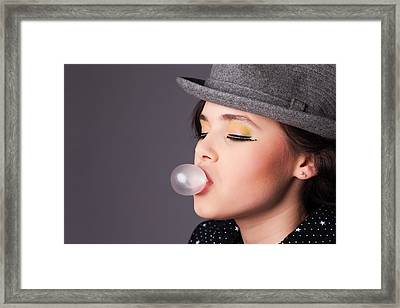 Girl Making A Bubble Portrait Framed Print