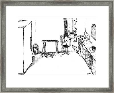 Girl Near A Stove Framed Print by Tanya Hamell