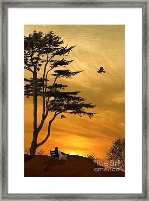 Girl On A Bench At Sunset Framed Print
