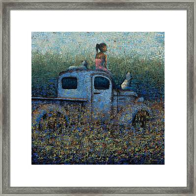 Girl On A Truck Framed Print by Ned Shuchter