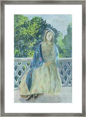 Girl On Balcony, 1900 Framed Print by Viktor Elpidiforovich Borisov-Musatov