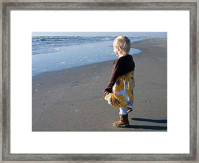 Framed Print featuring the photograph Girl On Beach by Greg Graham