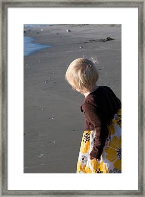 Framed Print featuring the photograph Girl On Beach II by Greg Graham