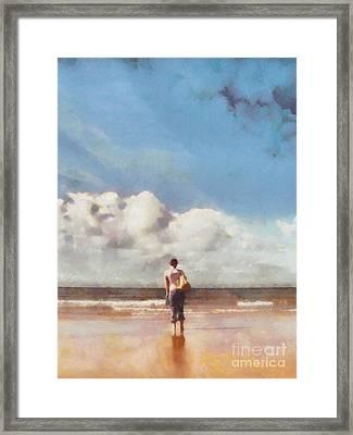 Girl On Beach Framed Print by Pixel Chimp
