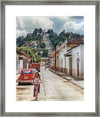 Girl On Bike Framed Print