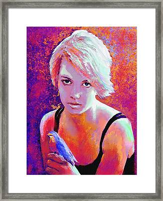 Framed Print featuring the digital art Girl On Fire by Jane Schnetlage