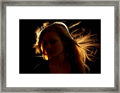 Girl On Fire Framed Print by Jessica Tookey
