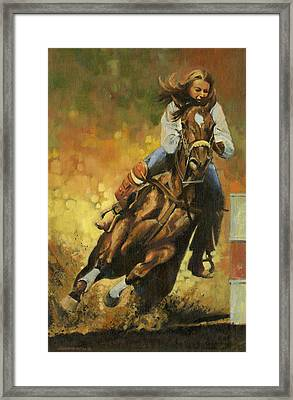 Girl Barrel Racing Framed Print