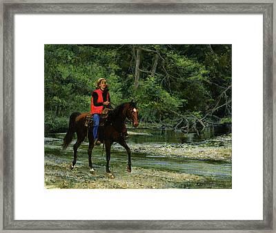 Girl On Horse Framed Print by Don  Langeneckert