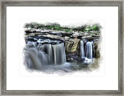 Girl On Rock At Falls Framed Print by Dan Friend