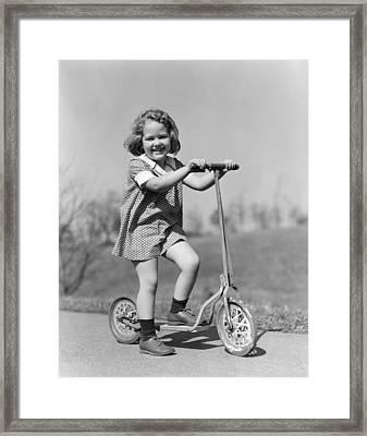 Girl On Scooter, C.1930s Framed Print