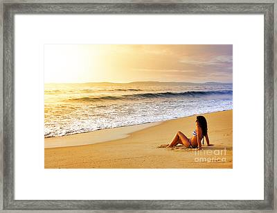 Girl On Seashore  Framed Print