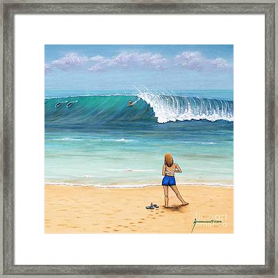 Girl On Surfer Beach Framed Print by Jerome Stumphauzer