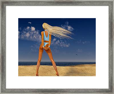 Girl On The Beach... Framed Print