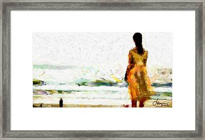 Girl On The Beach Tnm Framed Print