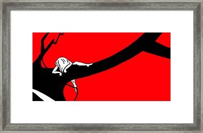 Girl On The Tree Of Time Red Framed Print